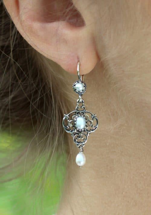 Perlen Ohrringe in Silber zum Dirndl