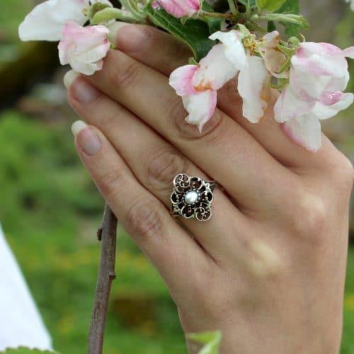 Trachtenschmuck Silberring mit Perle