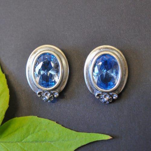 Edle, große Trachten Ohrringe aus Silber mit Schmuckstein blauer Spinell