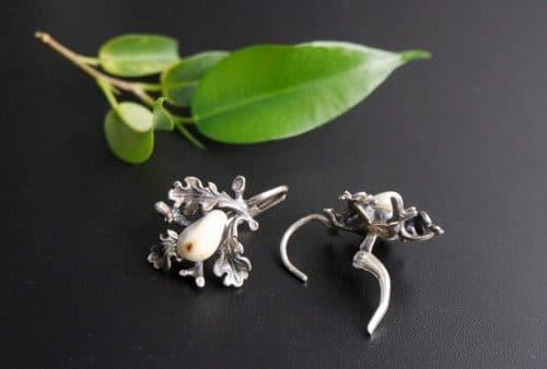 Silberner Grandlschmuck Jagdschmuck Ohrringe mit einem Paar Tiergrandl