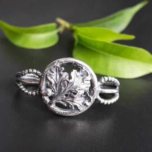 Trachtenaccessoire Herren: Krawattenring Eichenlaub in Silber