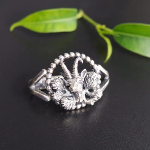 Bindlring Silber, Motiv: Steinbock