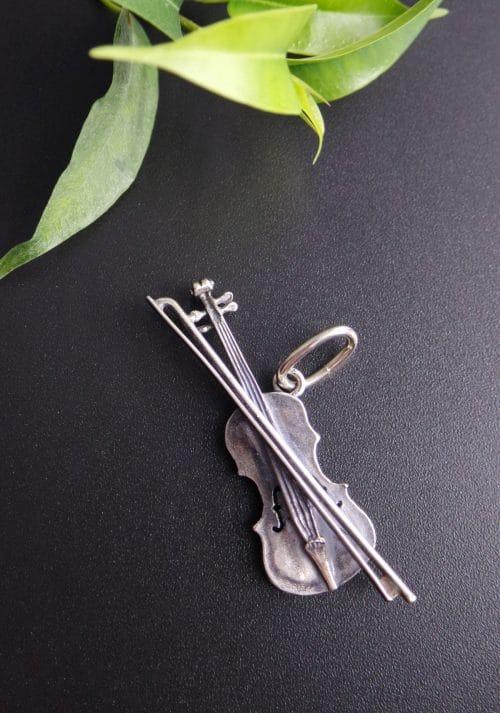 Anhänger Geige in Silber für Uhrenkette oder Charivari Kette
