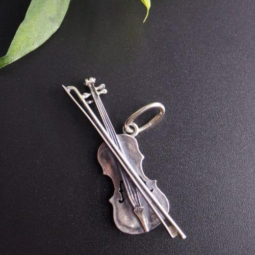 Anhänger für Uhrkette in Silber, Motiv Geige