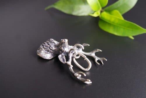 Anhänger für Uhren oder Charivari Kette in Silber, Motiv Hirsch