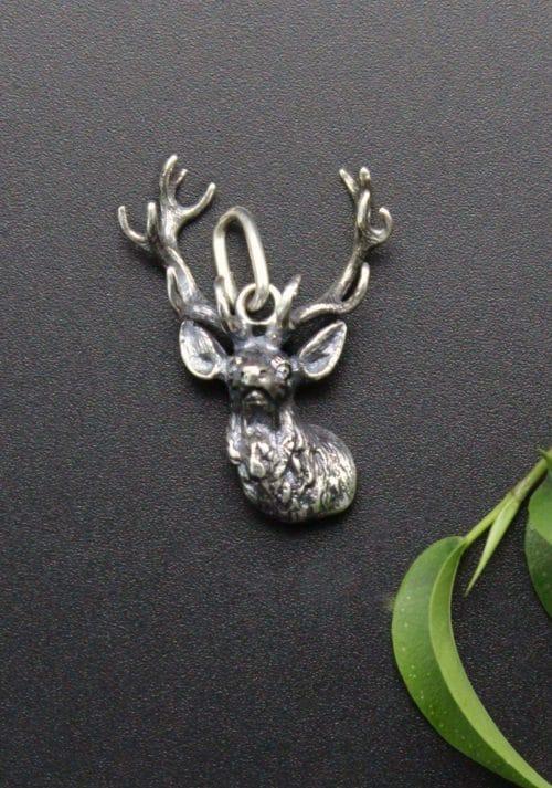 Uhrketten Anhänger Hirsch in Silber