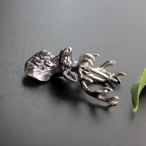 Silberner Anhänger in Hirschform für Uhrkette oder Charivari
