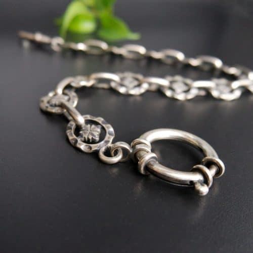 Silberne Uhrenkette oder Charivari Kette Albert