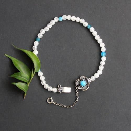 Trachtenschmuck Armband Lilli in Bergkristall und Türkis