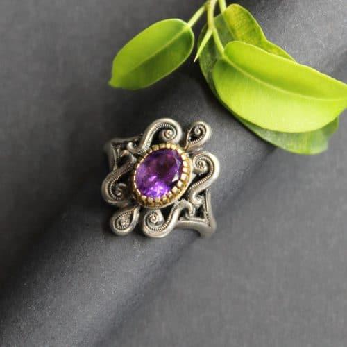 Trachtenschmuck Dirndlschmuck Ring Larissa in Silber und mit Amethyst