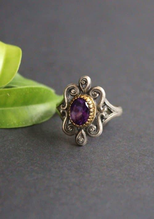 Trachtenschmuck Ring in Silber mit Amethyst