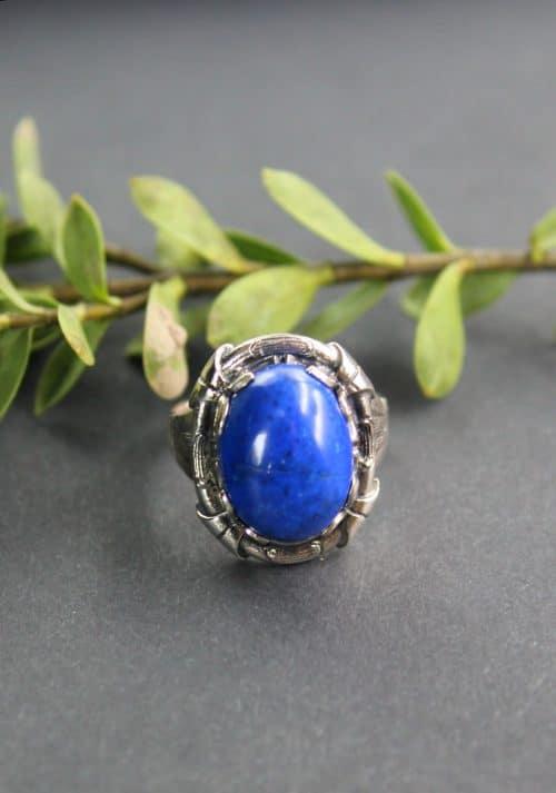 Trachtenschmuck Ring mit Lapis (blauem Schmuckstein) in Silber