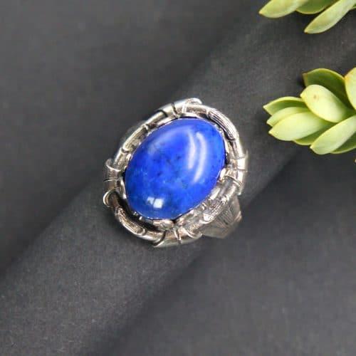 Trachten Ring in Silber und Lapis gefasst