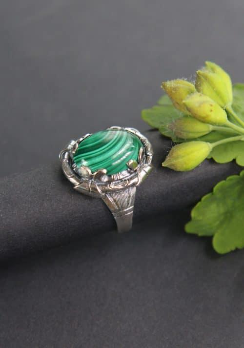 Trachtiger Silber Ring mit grünem Schmuckstein (Malachit)