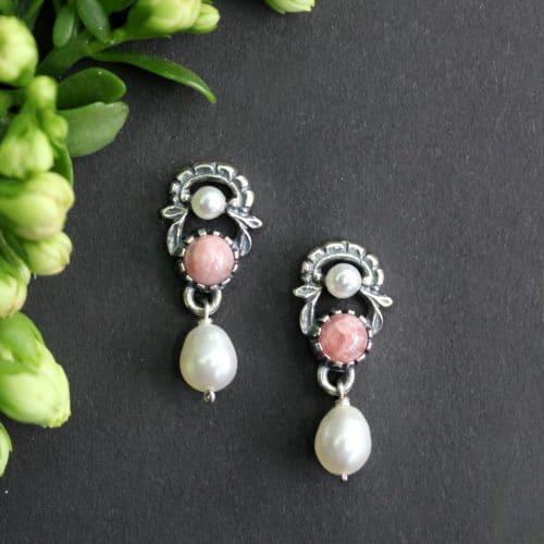 Trachtenschmuck Ohrringe rosa, silberne Ohrringe mit Perlen und Rhodochrosit