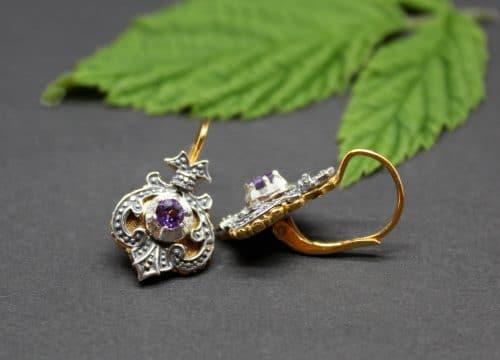 Trachtige Ohrringe Emma in Silber und Silber vergoldet