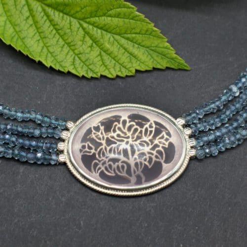 Unikat Trachtenschmuck Collier gefärbter Quarz mit Rosenquarz Mittelteil