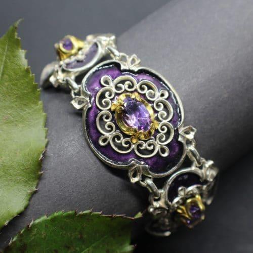 Elegantes Silberarmband im antiken Charme, violettes Emaille, Amethyst