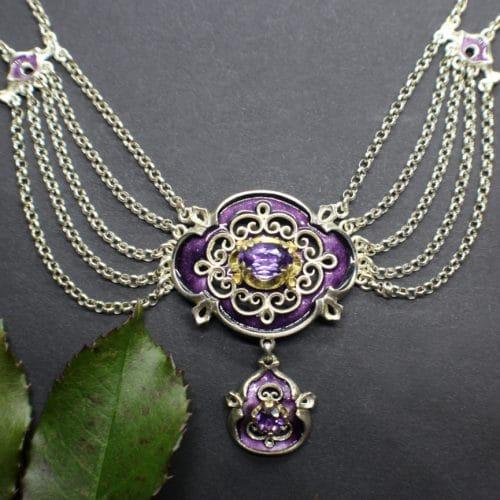 Verhangcollier im antiken Charme, Silber, Amethyst, violettes Emaille