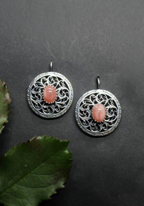 Moderne Trachtenschmuck Ohrringe in Silber mit Rhodochrosit (rosa Edelstein)